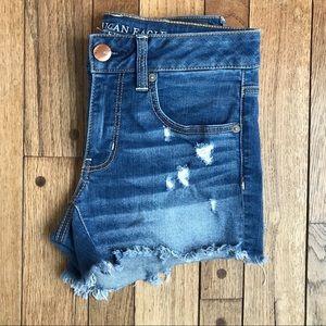 American Eagle Destroyed Stretch Denim Shorts